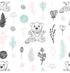 pastel seamless pattern with hand drawn teddy bear vector image