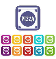 Pizza box cover icons set flat vector