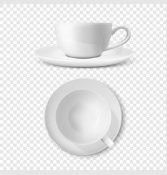 realistic 3d glossy blank white coffee tea vector image