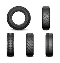Realistic tires with different tread marks vector
