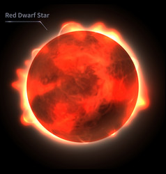 red dwarf star realistic planet is isolated vector image