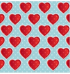 seamless heart polka dot blue vector image