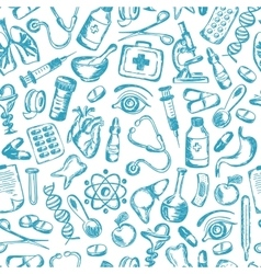 Seamless pattern Medical icons and elements of vector