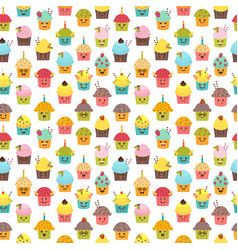 Seamless pattern with cupcakes and muffins kawaii vector