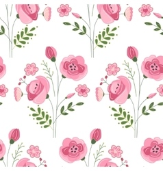 Seamless pattern with stylized cute red roses vector image