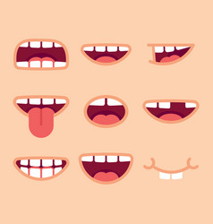 Set funny mouths cartoon style vector