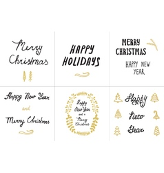 Set greeting card hand drawn vector image