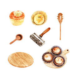 Set isolated watercolor chinese pastry for vector
