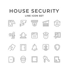 Set line icons house security vector