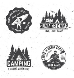 Set of kayak camping and caravanning club badge vector