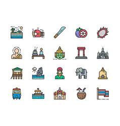set thailand culture color line icon machete vector image