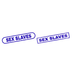 Sex slaves blue rectangle seal with corroded vector
