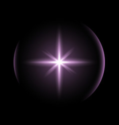 shining star with a glare purple color vector image