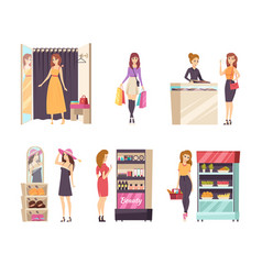 Shopping female in changing room ladies set vector