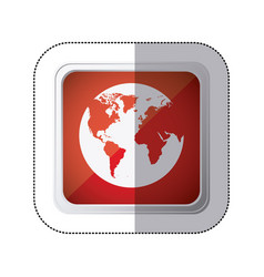 sticker red square button with silhouette globe vector image vector image