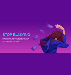 stop bullying poster with sad victim girl vector image