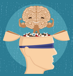 Strong brain and many books vector