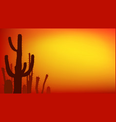 Sunset with saguaro cactus summer vector