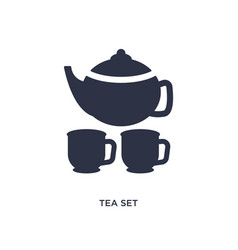 Tea set icon on white background simple element vector