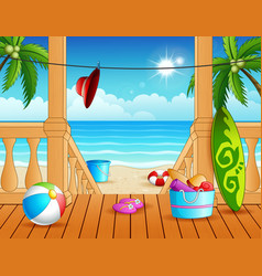 Terrace overlooking beach with many toys vector