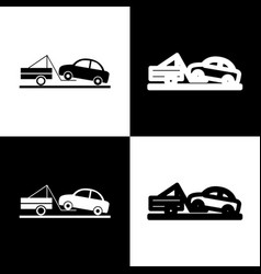 tow truck sign black and white icons and vector image