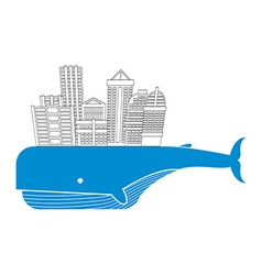Town on whale Water city Modern metropolis on back vector image
