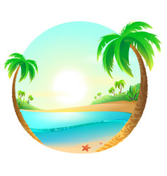 tropical beach among palm trees vector image