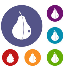 Whole pear icons set vector