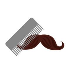 barbershop comb with mustache vector image vector image