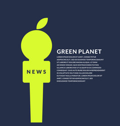 Bright poster with microphone and apple on the eco vector