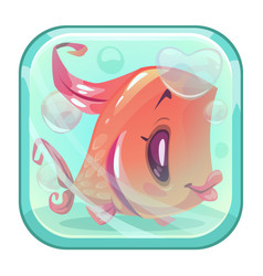 cute cartoon red fish behind the glass vector image vector image