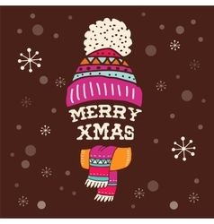 Merry Christmas - warm knitted hat with lettering vector image vector image