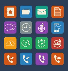 phone and telecommunication icons set flat design vector image