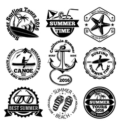 Set of summer travel labels with surfing canoe vector image