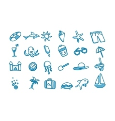 Beach doodle icons vector image vector image
