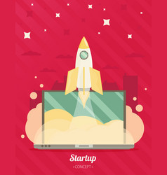flat concept background with rocket project start vector image vector image