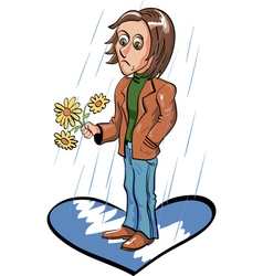 Sad young man waiting for date under the rain vector image vector image