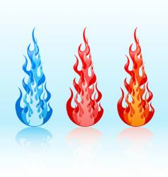 set of glossy flames vector image vector image