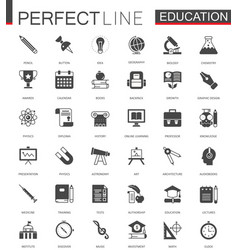 black classic web education icons set vector image