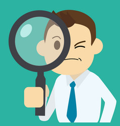 businessman finding job with magnifier vector image