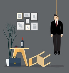 Businessman hang himself in his room vector image vector image