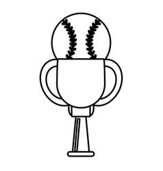 trophy ball baseball winner outline vector image