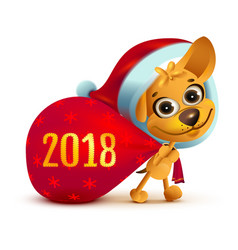 yellow dog symbol of year 2018 funny santa dog vector image