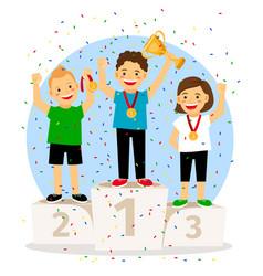 young children winner podium vector image vector image