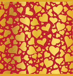 golden red hearts seamless pattern design vector image