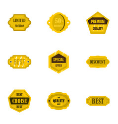 golden retro badges icons set flat style vector image