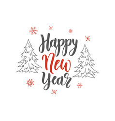 happy new year handwriting script lettering marry vector image