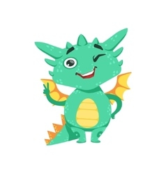 Little anime style baby dragon winking and showing vector