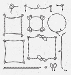 Set of hipster vintage stylized rope frames vector