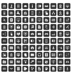 100 database icons set black vector image